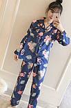 Пижама женская на пуговицах с фламинго. Комплект для дома, сна с длинным рукавом, р. L, фото 2