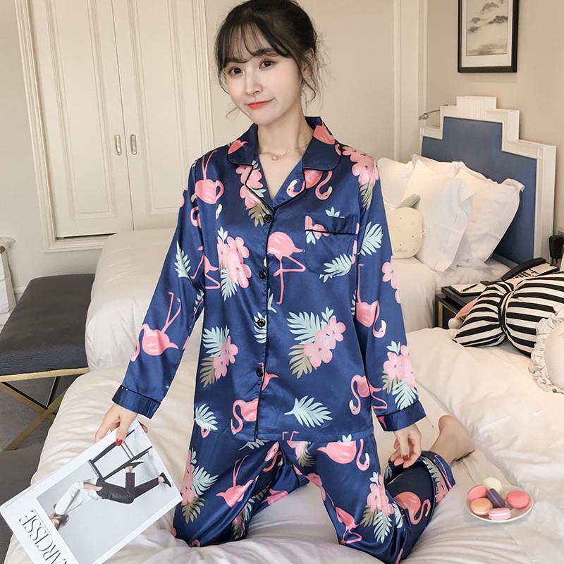 Пижама женская на пуговицах с фламинго. Комплект для дома, сна с длинным рукавом, р. L