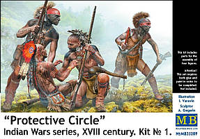 «Защитный круг». Серия Индейских войн, XVIII век. Набор № 1. Сборные фигуры. 1/35 MASTER BOX 35209