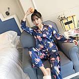 Пижама женская на пуговицах с фламинго. Комплект для дома, сна с длинным рукавом, р. L, фото 6