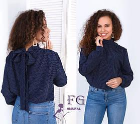 Блузка в горошек с бантом на спине