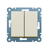 Выключатель 2-х клавишный Hager Lumina 2 Кремовый (WL0041), фото 1