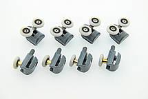 Ролики для душевых кабин, комплект ( В-43 А+С ) Верхние двойные, нижние одинарные серые., фото 3