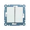 Выключатель 2-х клавишный универсальный Hager Lumina 2 Белый (WL0050)