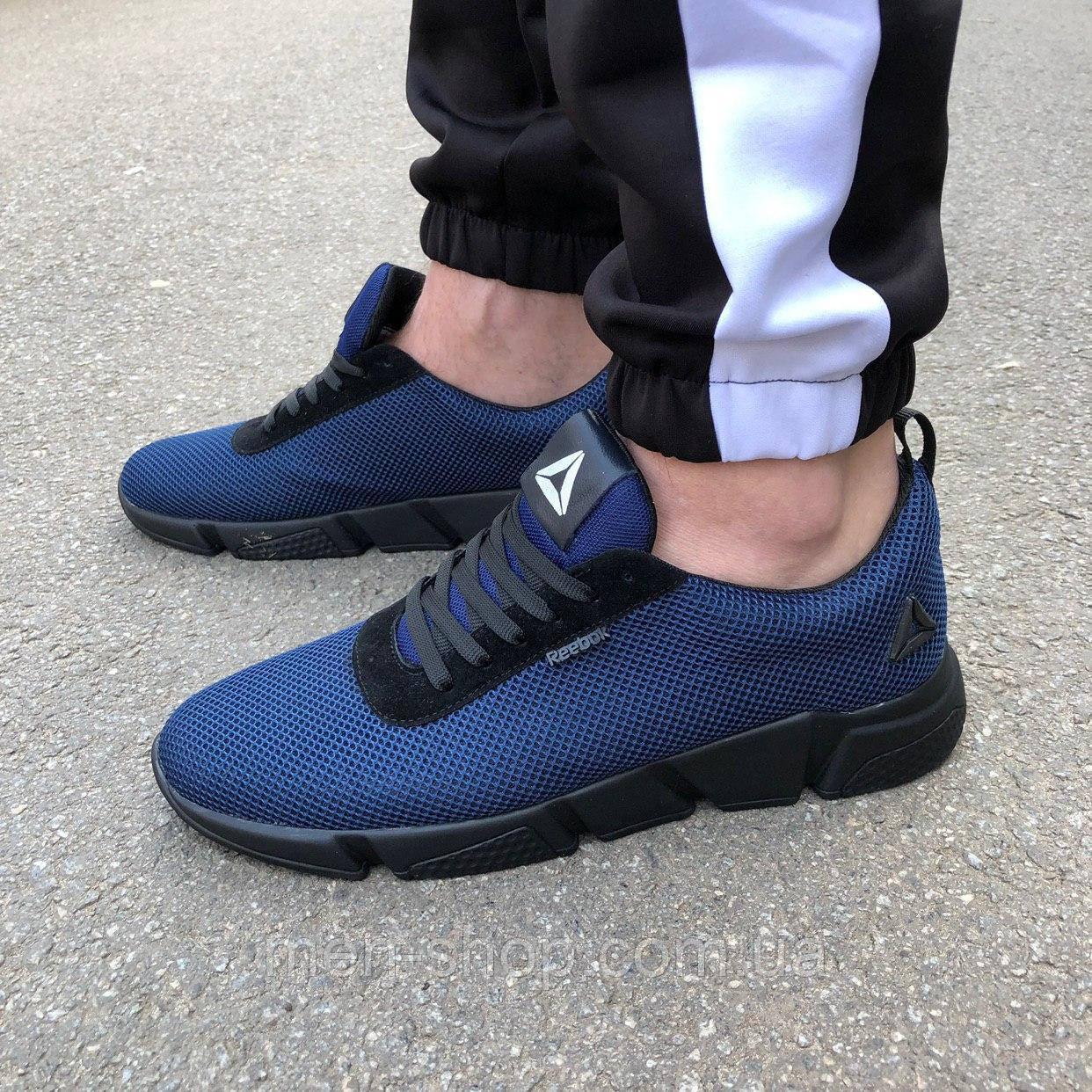 Синие мужские кроссовки в стиле Reebok