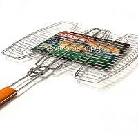 Решетка-гриль для рыбы на мангал из нержавейки / Решітка-гриль для риби на мангал (41*37 см)