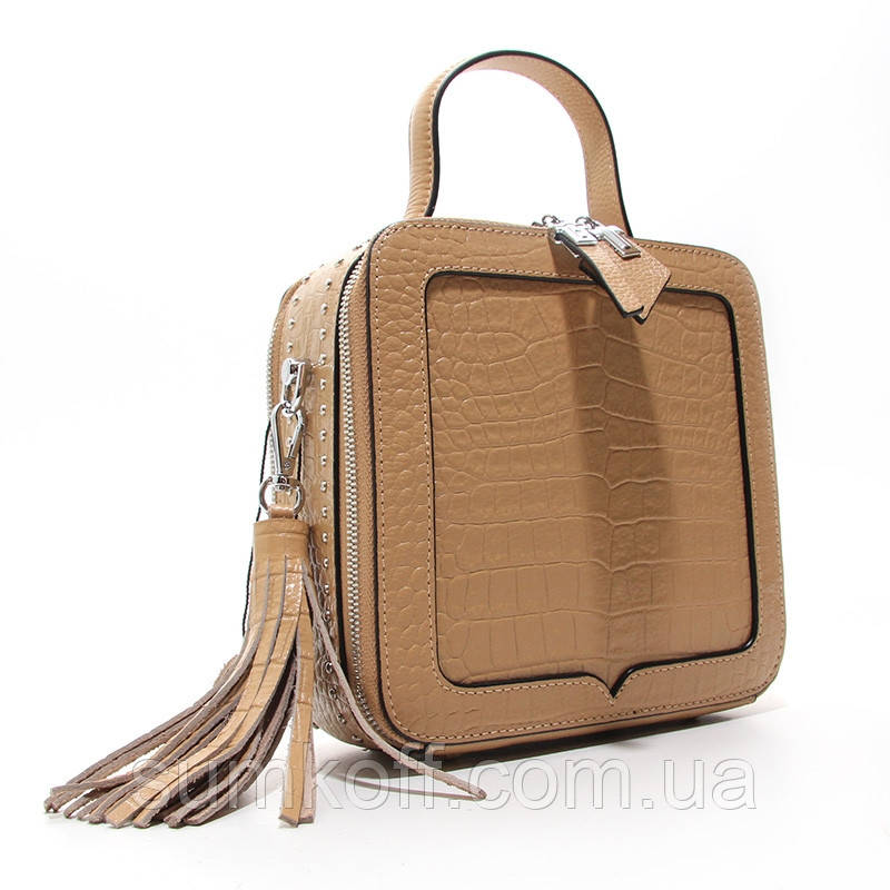 Коричневая мини сумка женская кожаная маленькая квадратная через плечо из натуральной кожи с кисточкой
