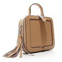 Коричневая сумка 2711 bro женская маленькая квадратная через плечо из натуральной кожи, фото 1