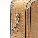 Коричневая мини сумка женская кожаная маленькая квадратная через плечо из натуральной кожи с кисточкой, фото 9
