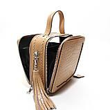 Коричневая мини сумка женская кожаная маленькая квадратная через плечо из натуральной кожи с кисточкой, фото 10