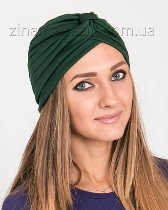 Шапка тюрбан темно-зеленый, фото 2