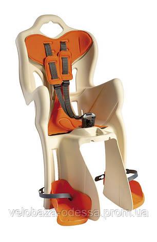 Сиденье задн. Bellelli B1 Сlamp (на багажник) до 22кг, бежевое с оранжевой подкладкой, фото 2