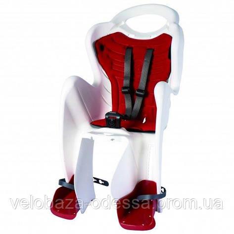 Сиденье задн. Bellelli Mr Fox Standart B-fix до 22кг, белое с красной подкладкой, фото 2