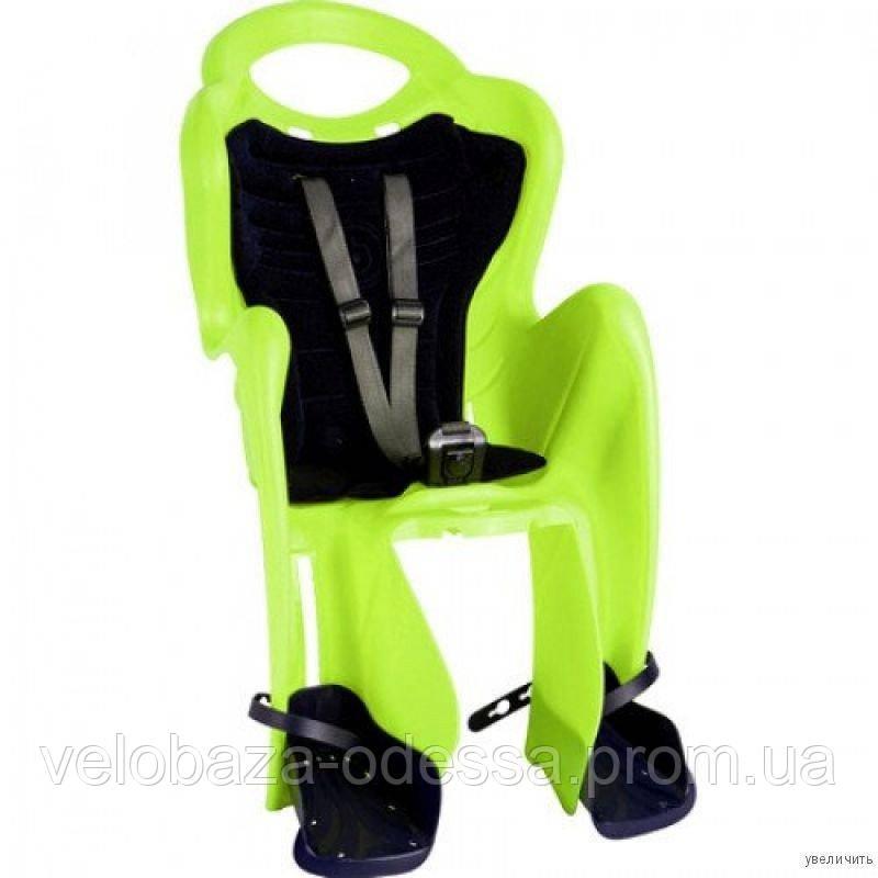 Сиденье задн. Bellelli Mr Fox Сlamp (на багажник) до 22кг, салатовое с серой подкладкой (Hi Vision)