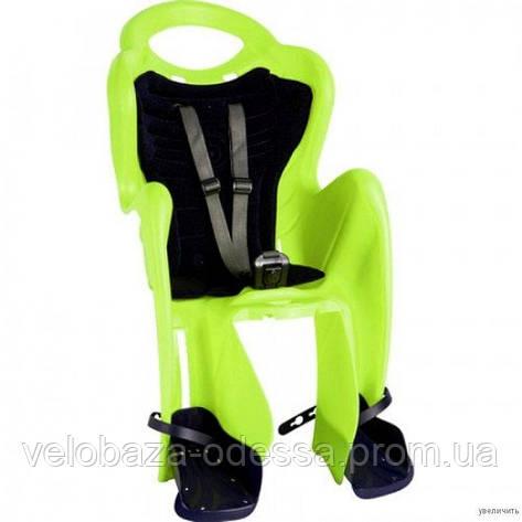 Сиденье задн. Bellelli Mr Fox Сlamp (на багажник) до 22кг, салатовое с серой подкладкой (Hi Vision), фото 2