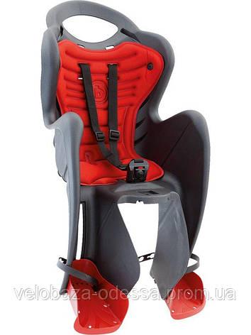 Сиденье задн. Bellelli Mr Fox Сlamp (на багажник) до 22кг, серое с красной подкладкой, фото 2