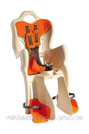 Сиденье задн. Bellelli Pepe Standart Multifix до 22кг, бежевое с оранжевой подкладкой, фото 2