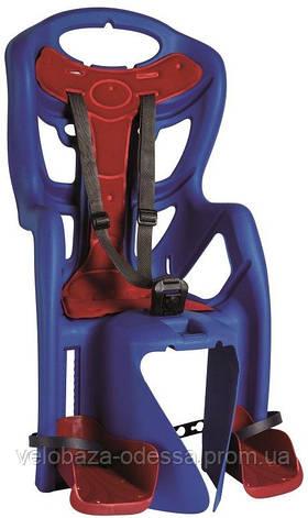 Сиденье задн. Bellelli Pepe Сlamp (на багажник) до 22кг, синее с красной подкладкой, фото 2