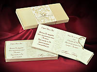 Эксклюзивные свадебные приглашения цвета айвори в виде коробочки с бархатным покрытием (арт. 3686)