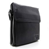 Мужская кожаная сумка Prada черная через плечо из натуральной кожи pd-1082-4, фото 1
