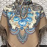 В вихре танца 1567-16, павлопосадский платок шерстяной  с шелковой бахромой, фото 2
