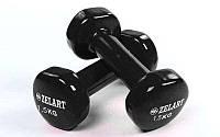 Гантели 2 шт по 1.5 кг для фитнеса с виниловым покрытием Zelart Beauty Черный (TA-5225-1_5)