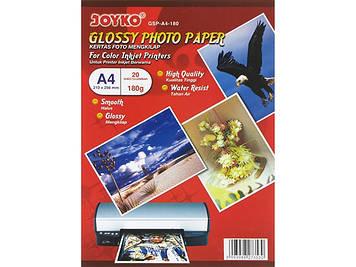 """Фотопапір """"Joyko"""" А4 180г/м2 глянц. 210х298мм GSP-A4-10/GSP-A4-180(20)(1000)"""