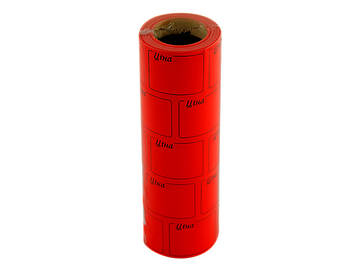 """Цінник клейкий в рул. F 6м """"Ціна"""" з рамкою 29х36мм червоний(5)(440)"""