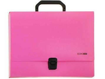 """Портфель """"Economix"""" №E31607-09 A4 пласт. на застібці (рожевий)(1)(6)"""