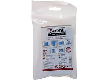 """Серветки вологі для очищення екранів """"Axent"""" (100шт) №5312 (змінні)"""