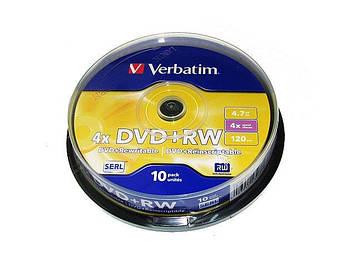 "DVD+RW ""Verbatim"" 4х 4.7Gb/120min штир(10)"