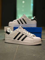 Кроссовки кеды мужские Adidas Superstar / Адидас Суперстар белые с черными полосками. 45