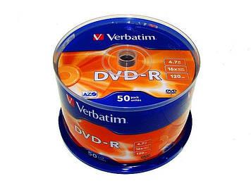 DVD-R 16х 4.7 Gb/120min Verbatim штир(50)