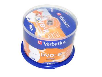 DVD-R 16х 4.7 Gb/120min Verbatim штир(50)printable матів.