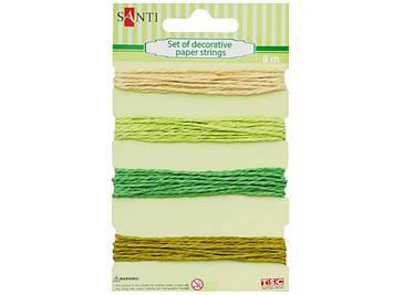 """Набір шнурів паперових декор. """"Santi"""" №952035 4кольор.,зелен.-бежев.,8м"""