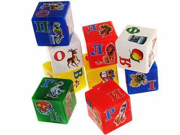 """Кубики пласт.""""Абетка украінська"""" Веселка,9 кубиків,""""Технокомп"""" №1806(26)"""