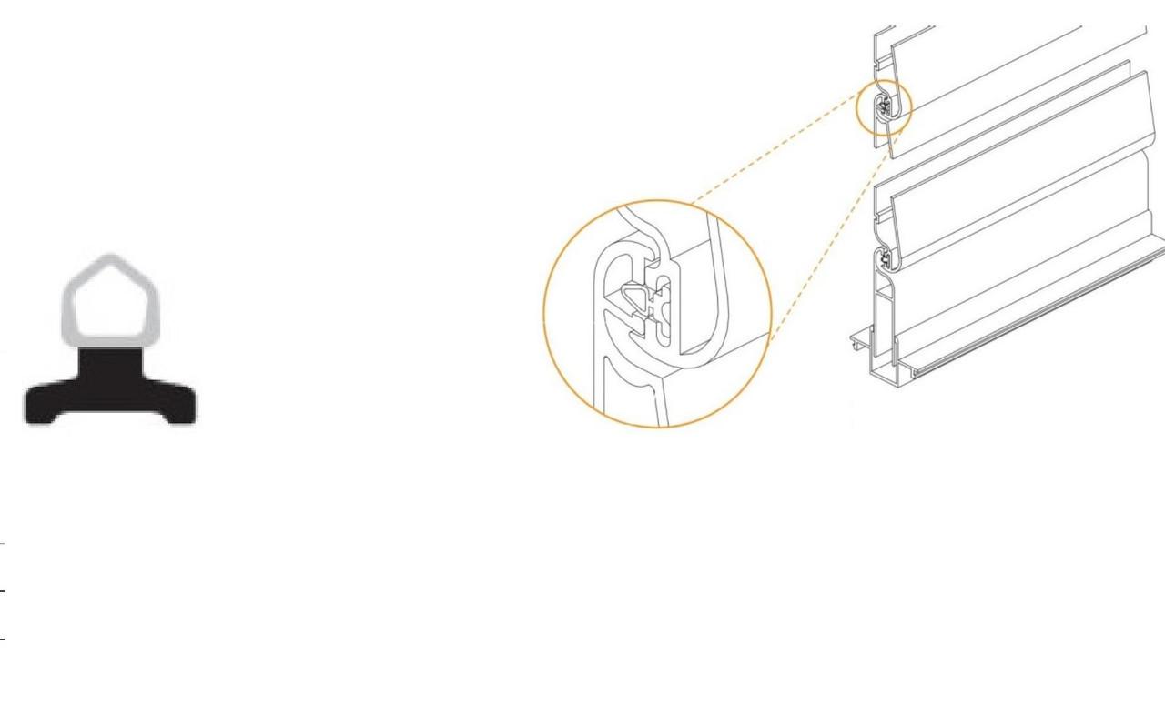 Уплотнитель для алюминиевых ламелей 66*16