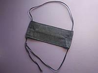 Многоразовая медицинская маска для лица тканевая - двохслойная черная
