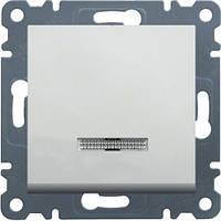 Выключатель с подсветкой 1-но тактовый Hager Lumina 2 Белый (WL0410), фото 1