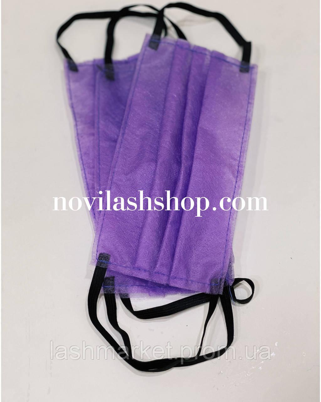 Маска защитная одноразовая для лица (спанбонд) на резинке.