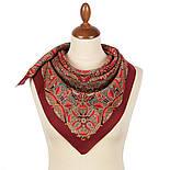 Пасьянс 796-6, павлопосадский платок из вискозы с подрубкой 80х80, фото 3