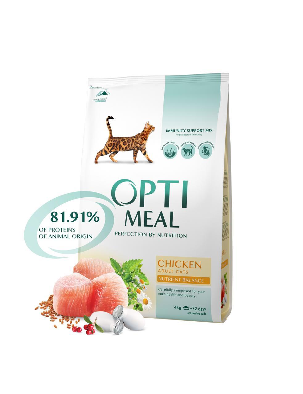 Сухой корм для взрослых кошек с курицей 4 кг OPTIMEAL ОПТИМИЛ