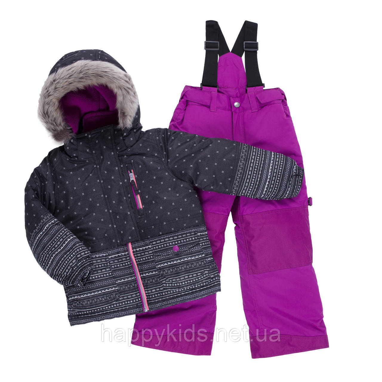 Зимний костюм для девочки PELUCHE & TARTINE F19M56EF Black/Dahlia. Размеры 3 - 8 лет.