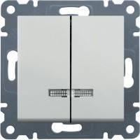 Выключатель с подсветкой 2-х клавишный Hager Lumina 2 Белый (WL0240), фото 1