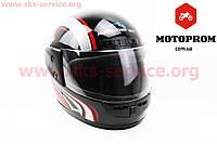 Шлем для мото скутер мопед Шлем закрытый HF-101 размер М- ЧЕРНЫЙ с красно-серым рисунком Q2 (KUROSAWA)