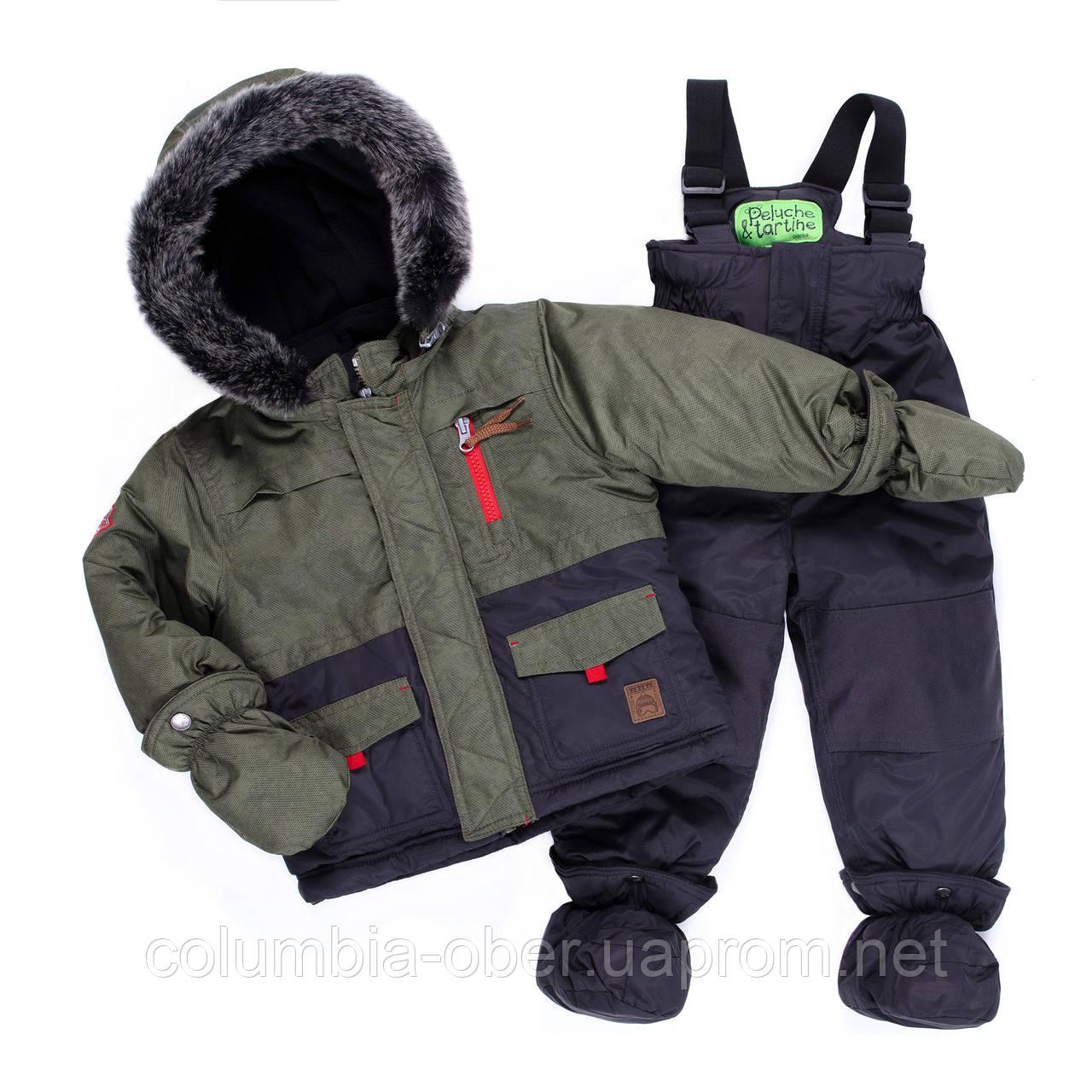 Зимний комплект для мальчика PELUCHE & TARTINE FF19M13BG Olive/DeepGray. Размеры 12 мес-3 года.