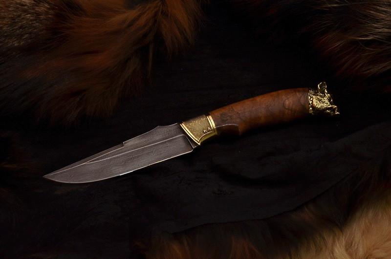 """Охотничий нож ручной работы """"Вепрь"""", дамаск"""