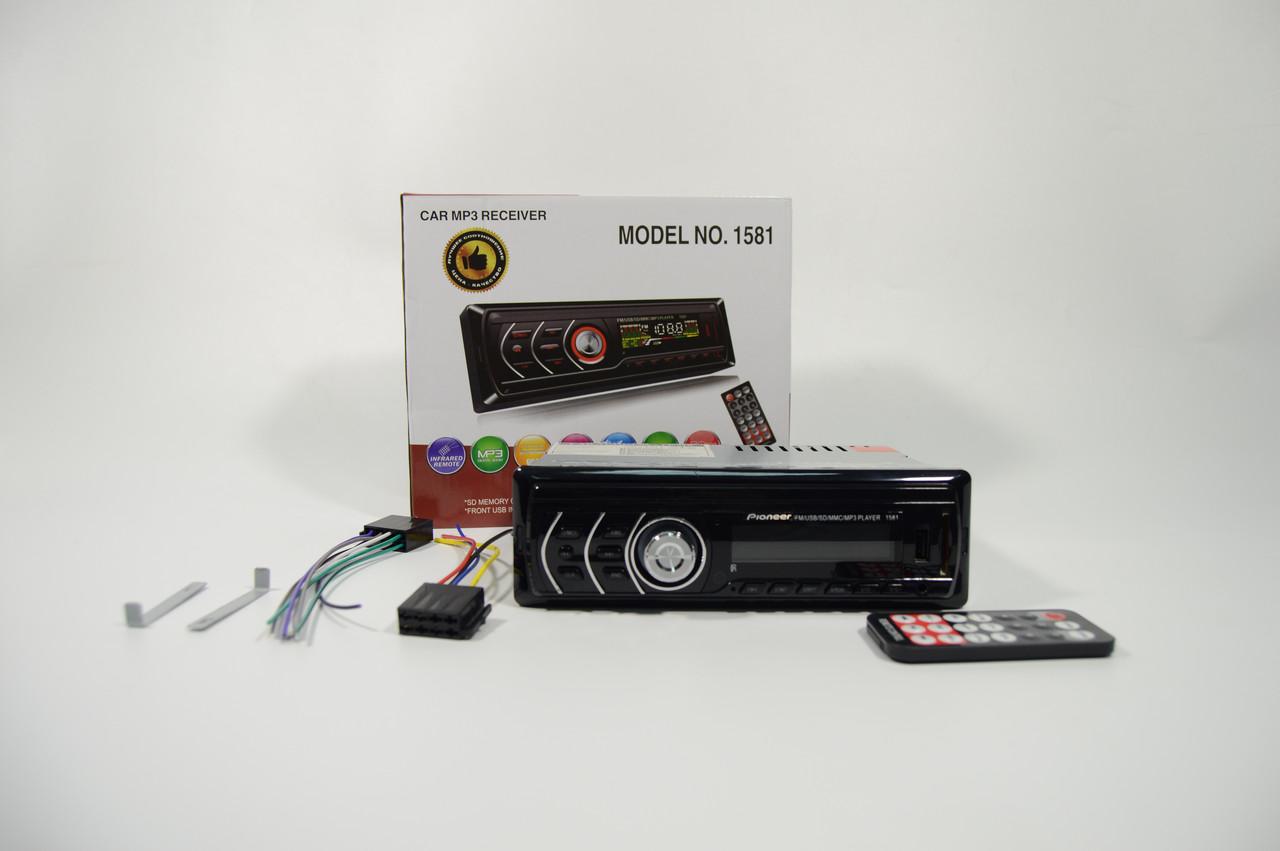 1din Автомагнитола Pioneer 1581Usb+RGB подсветка+Fm+Aux+ пульт (4x50W) copy+ПОДАРОК!