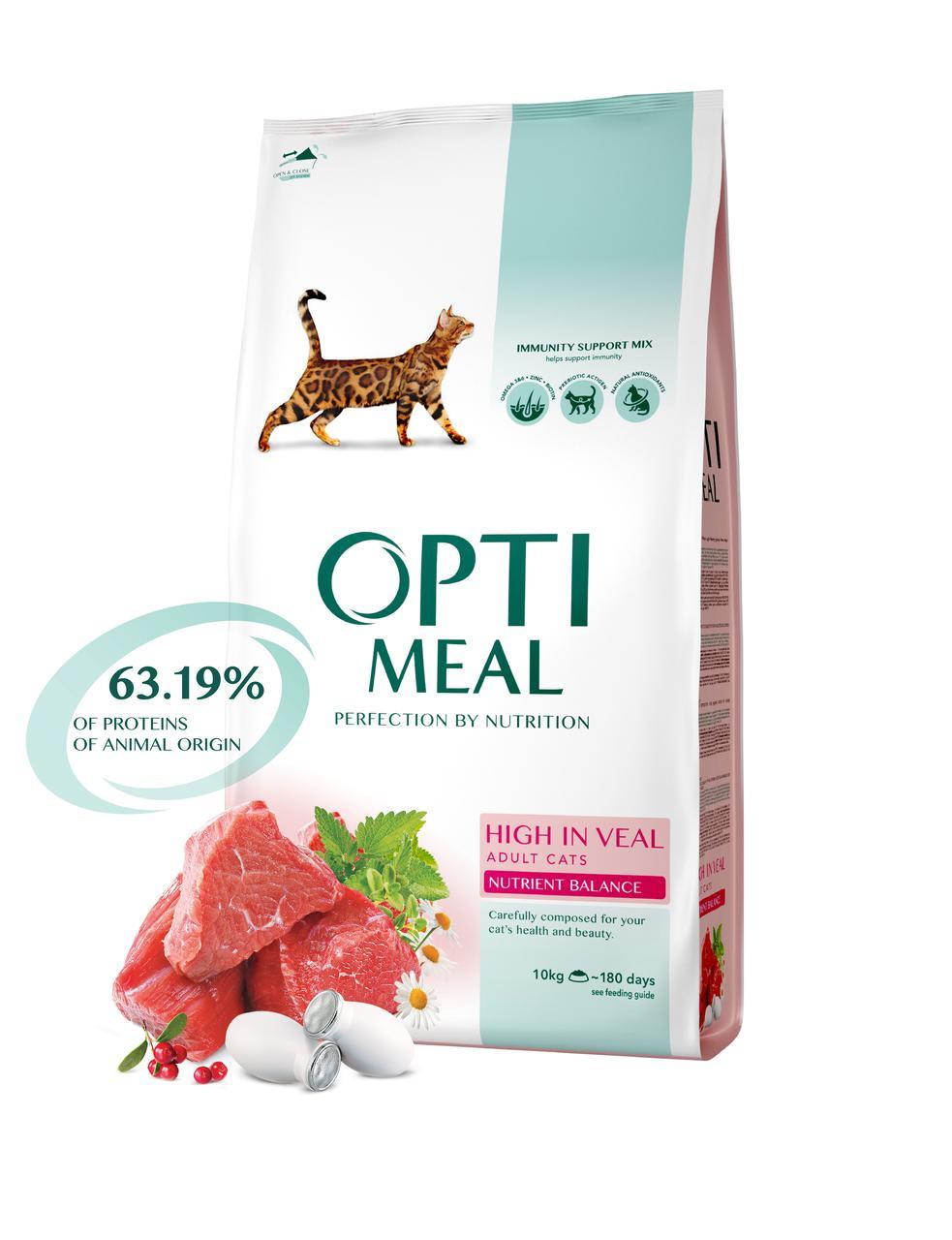 Сухой корм для взрослых кошек с высоким содержанием телятины 10 кг OPTIMEAL ОПТИМИЛ