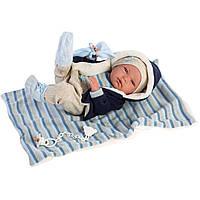 Детская Игровая Развивающая Испанская Кукла Ллоренс младенец Нико 38 см в кофте с капюшоном, из винила Llorens